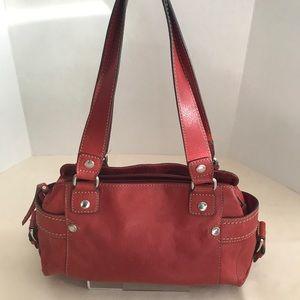 Vtg Fossil Purse Hand Bag Satchel Shoulder Red
